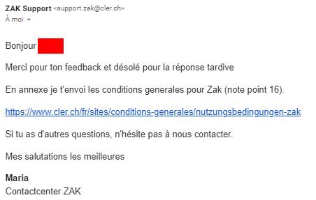 Seconde réponse du Support Zak